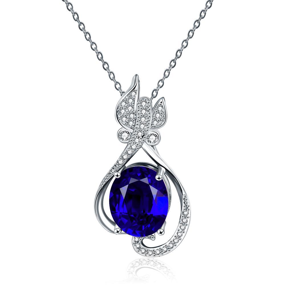 Vienna Jewelry White Gold Plated Petite Butterfly Sapphire Necklace