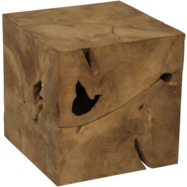 Root Cube Teak Wood Side Table 17243234 Overstock Com