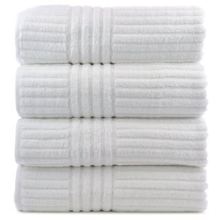 Luxury Hotel and Spa Towel 100-percent Genuine Turkish Cotton Bath Towels Striped (Set of 4)