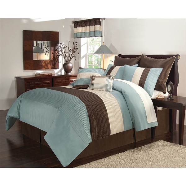 Essex Blue and Brown 8-piece Comforter Set - Overstock ...