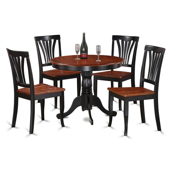 Black Round Kitchen Table Set: 5-piece Round Black And Cherry Kitchen Table Set