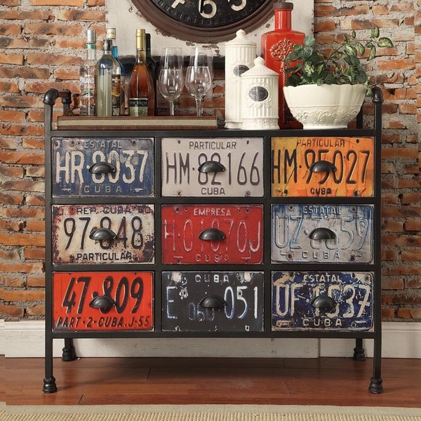 Soho Industrial 9 Drawer Metal Chest Console Table Cabinet