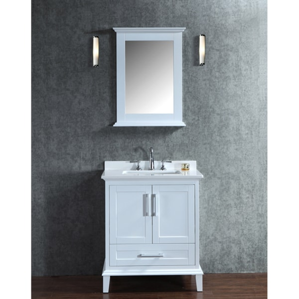 Nantucket 30 inch white free standing single sink bathroom - 30 inch single sink bathroom vanity ...