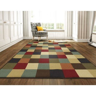 Patchwork Red Multi Geometric Modern Color Blocks Area