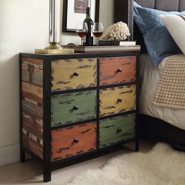 Soho Rustic Antique Multicolor 6 Drawer Cabinet Storage
