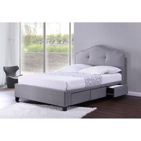 Baxton Studio Armeena Grey Linen Modern Storage Bed With