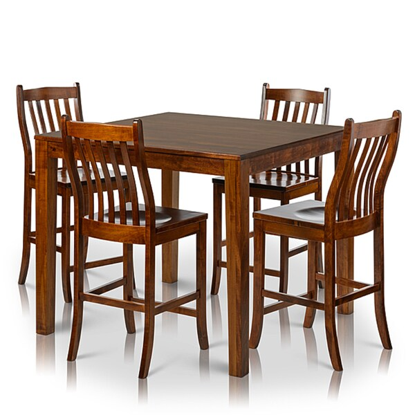 Somette 5 Piece Solid Maple Wood Dining Set With Counter