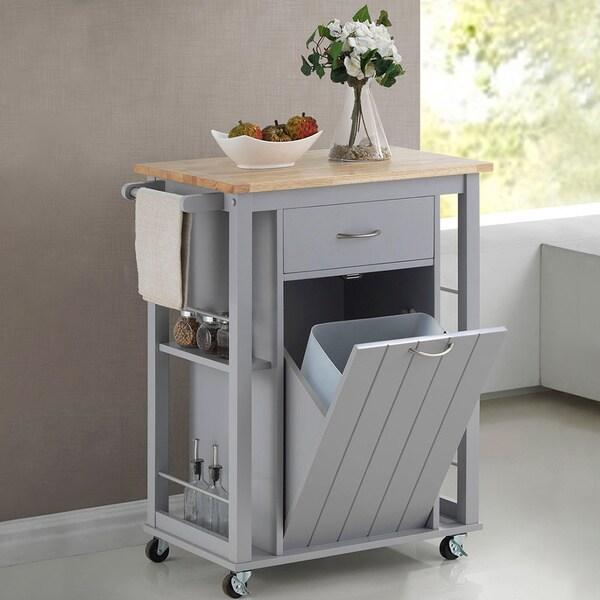 Baxton Studio Yonkers Contemporary Light Grey Kitchen Cart