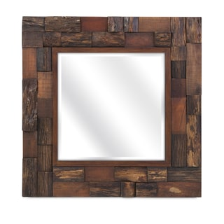 Doniea Dark Brown Wood Framed 31 5 Inch Square Mirror