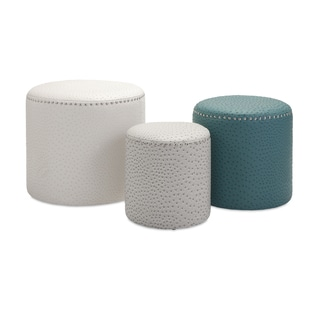 White Leather Look Ottoman 14354961 Overstock Com