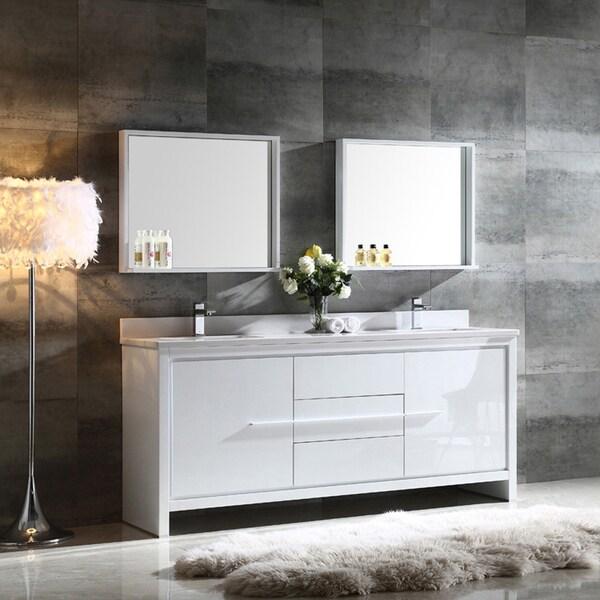 Fresca Allier 72-inch White Modern Double Sink Bathroom ...
