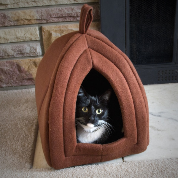 Paw Tan Enclosed Igloo Tent Cat Bed 17295998 Overstock