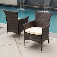 Malta Outdoor Wicker Dining Chair with Cushion by Christopher Knight Home (Set of 2)
