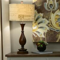 29.25-inch Wood and Script Table Lamp
