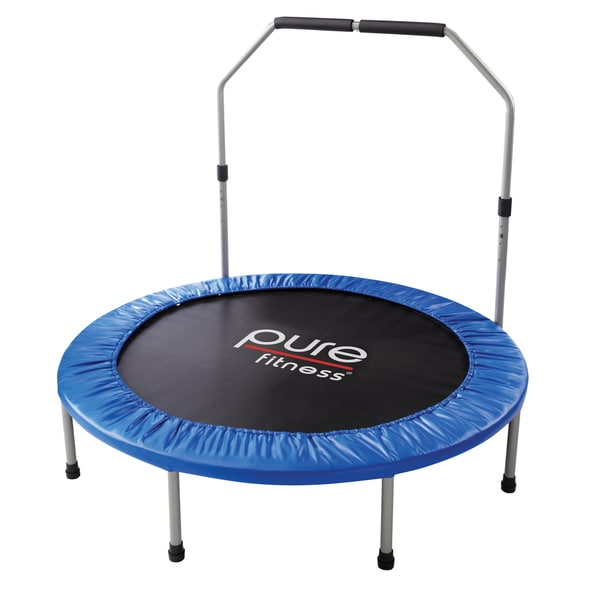Pure Fitness 48 Inch Mini Trampoline With Hand Rail