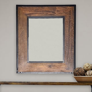 Antique Wood Traditional Rectangular 34 Inch Wall Mirror