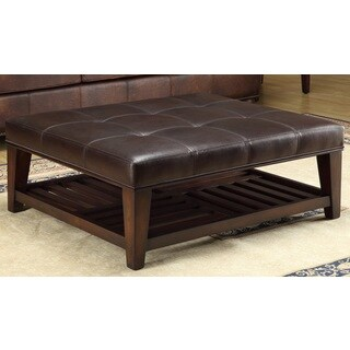 Abbyson Living Manchester Dark Brown Leather Square Coffee