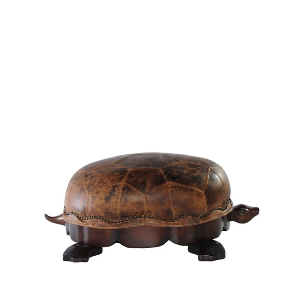 Lazzaro Leather Franklin Medium Leather Turtle Ottoman