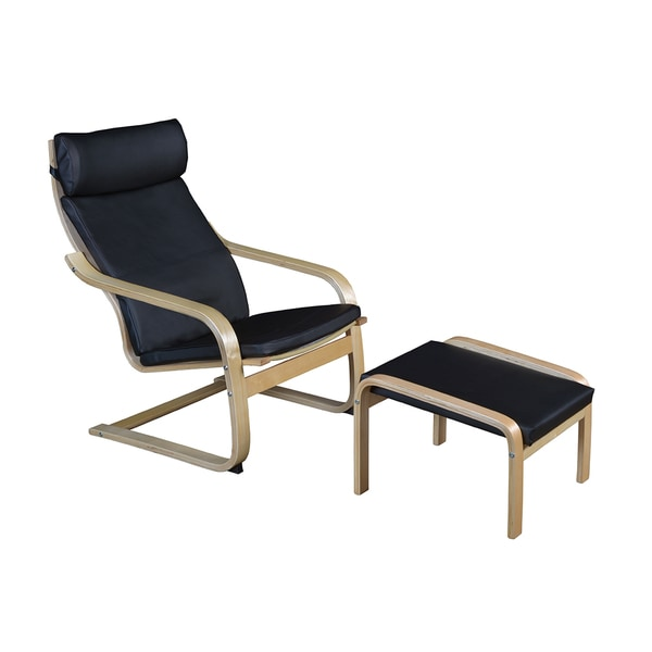 Niche Mia Bentwood Natural Black Leather Reclining Chair