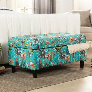 Nailhead Trim Floral Storage Bench 15781258 Overstock