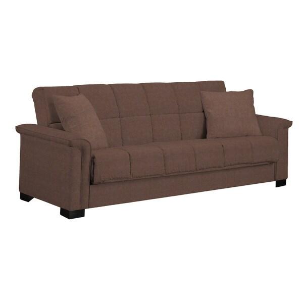 Full Size Memory Foam Mattress Portfolio Caroline Brown Microfiber Convert-a-Couch ...