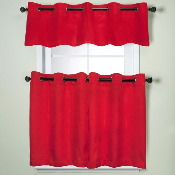 Red Kitchen Valances: Modern Sublte Textured Solid Red Kitchen Curtains With