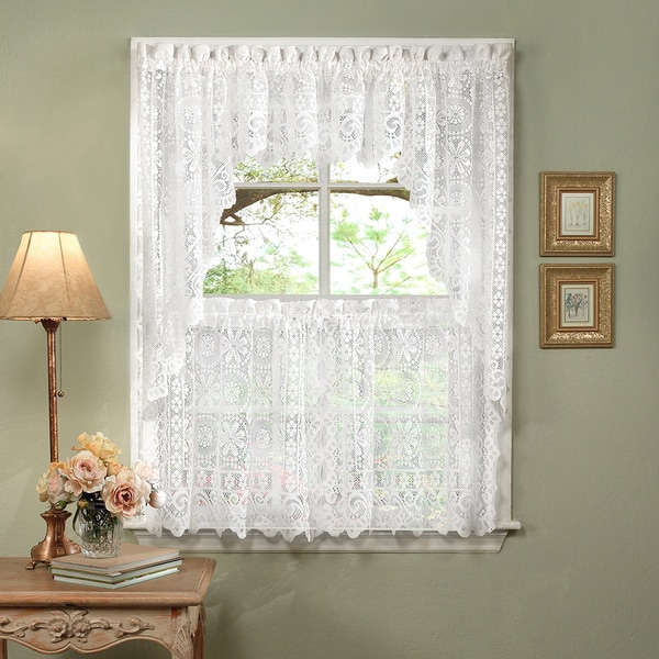 Luxurious Old World Style White Lace Kitchen Curtains
