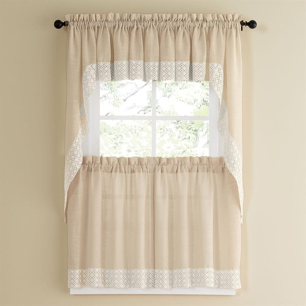 French Country Kitchen Curtains: French Vanilla Country Style Kitchen Curtains With White