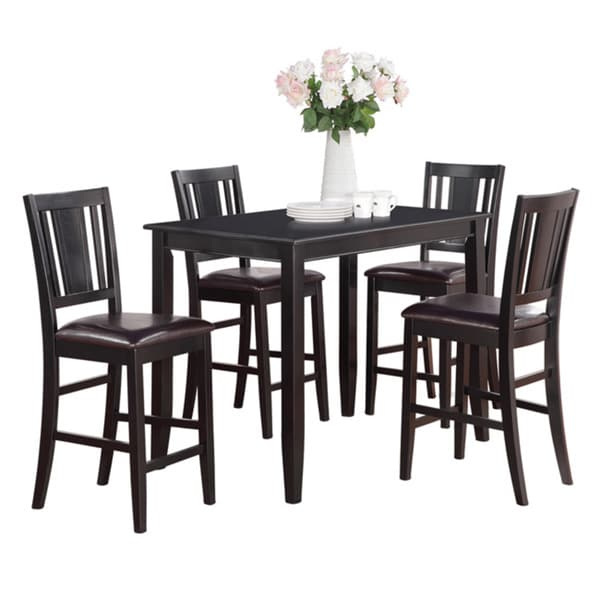 Tall Dining Tables And Chairs: Black Counter Height Table And 4 Kitchen Counter Chairs 5