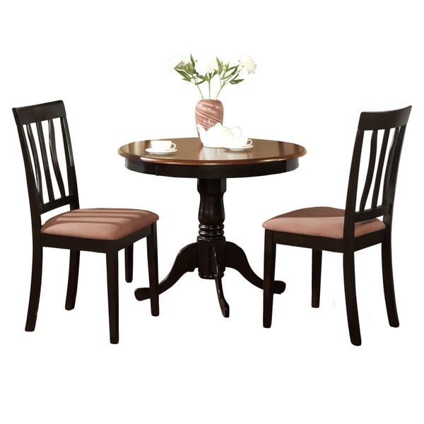 Black And Cherry Round Table And Two Dinette Chair 3 Piece: Black Round Kitchen Table Plus 2 Dining Room Chairs 3