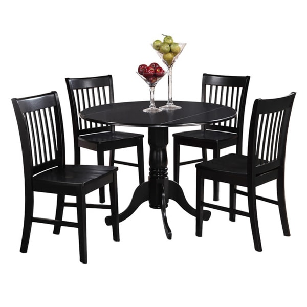 Kitchen Round Table And Chairs: Black Round Kitchen Table And 4 Dinette Chairs 5-piece