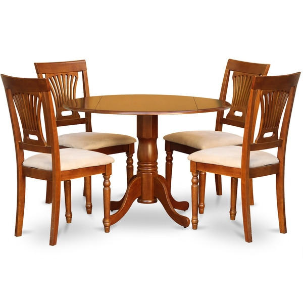 5 Piece Small Round Table And 4 Dining Chairs: Saddle Brown Round Table Plus 4 Dinette Chairs 5-piece