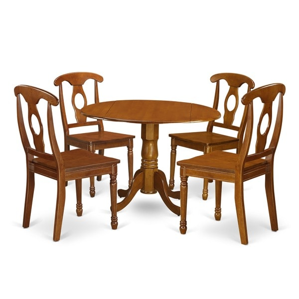 Saddle Brown Small Table Plus 4 Chairs 5-piece Dining Set
