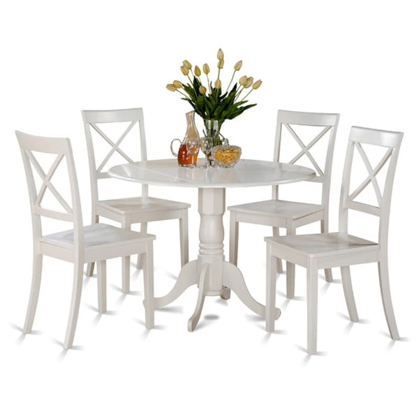 5 Piece Small Round Table And 4 Dining Chairs: Linen White Small Table And 4 Dinette Chairs 5-piece