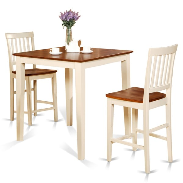 3 Piece Dining Set Bar Stools Pub Table Breakfast Chairs: White Square Pub Table And 2 Counter Height Chairs 3-piece