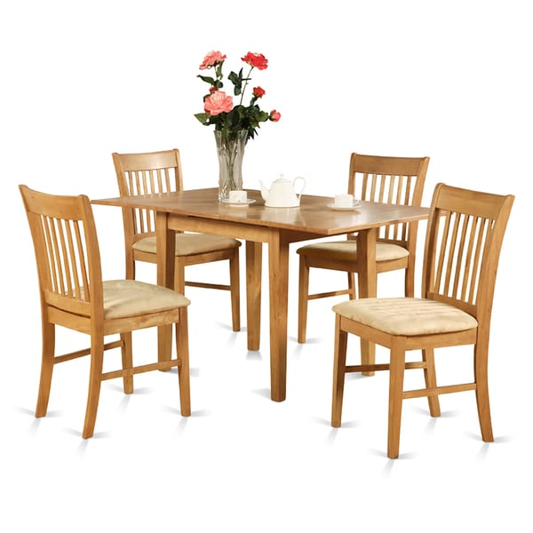 Oak Kitchen Table Chairs: Oak Dinette Table With 12-inch Leaf And 6 Kitchen Chairs
