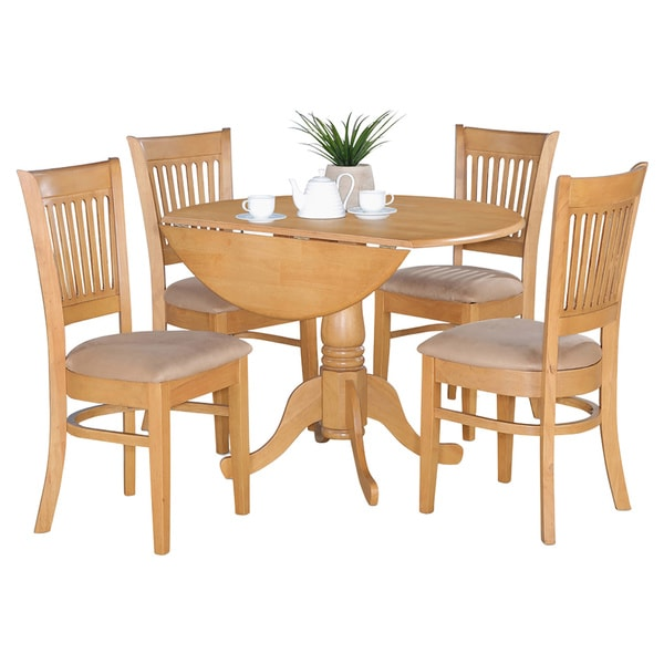 Dinettes Sets: Oak Drop Leaf Table And 4 Dinette Chairs 5-piece Dining