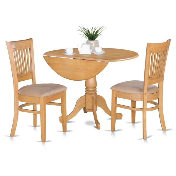 Oak Kitchen Tables And Chairs Sets: Oak Kitchen Table And 2 Slat Back Chairs 3-piece Dining