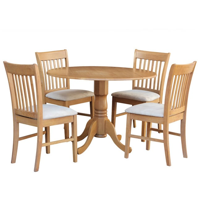 Round Kitchen Table For 8: Oak Round Kitchen Table And 4 Chairs 5-piece Dining Set