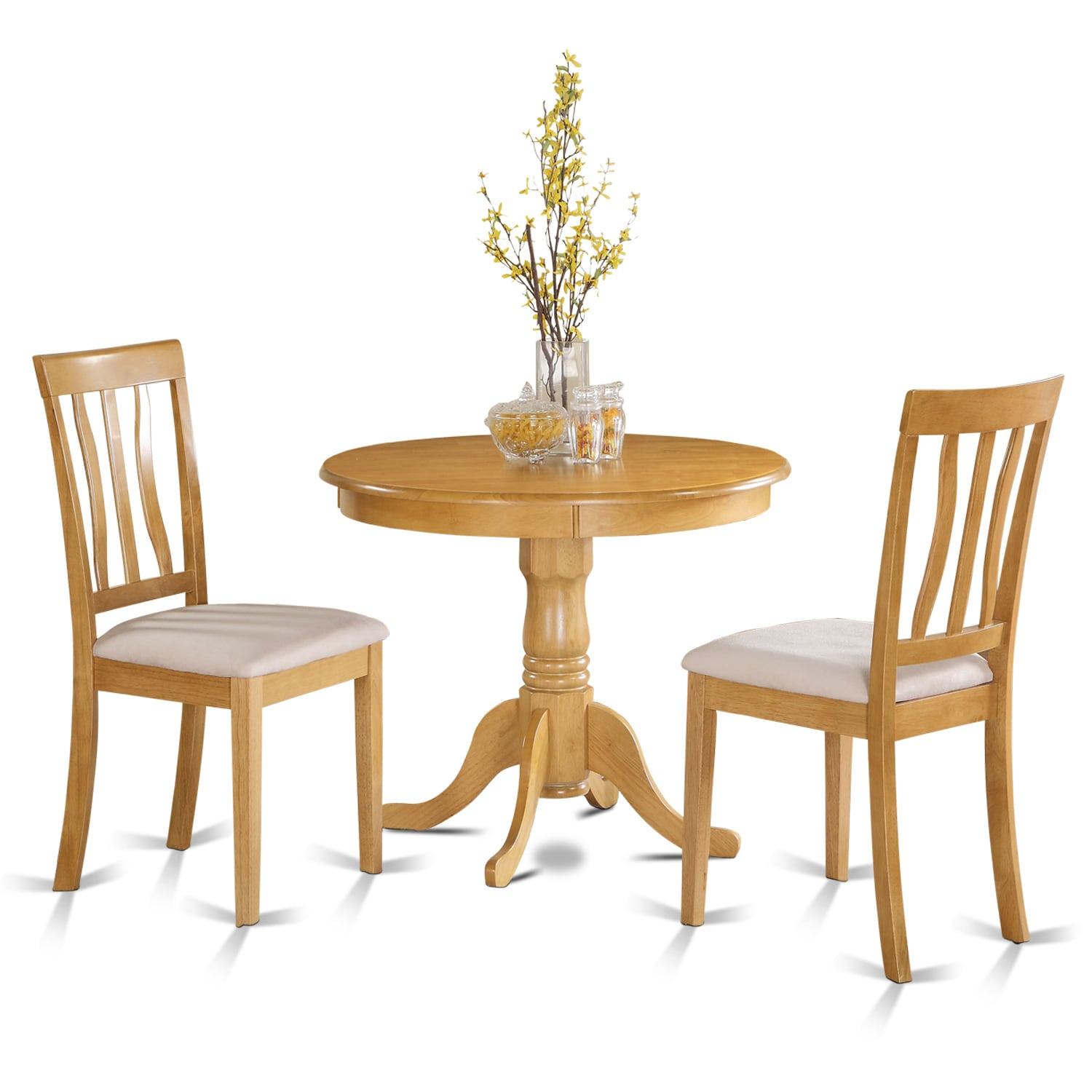 Little Kitchen Table: Oak Small Kitchen Table Plus 2 Chairs 3-piece Dining Set
