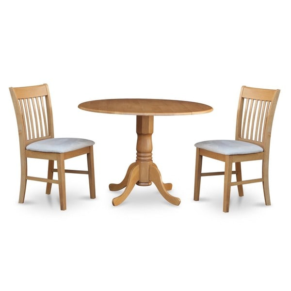 Small Dinette Sets For 4: Oak Small Table And 2 Dinette Chairs 3-piece Dining Set