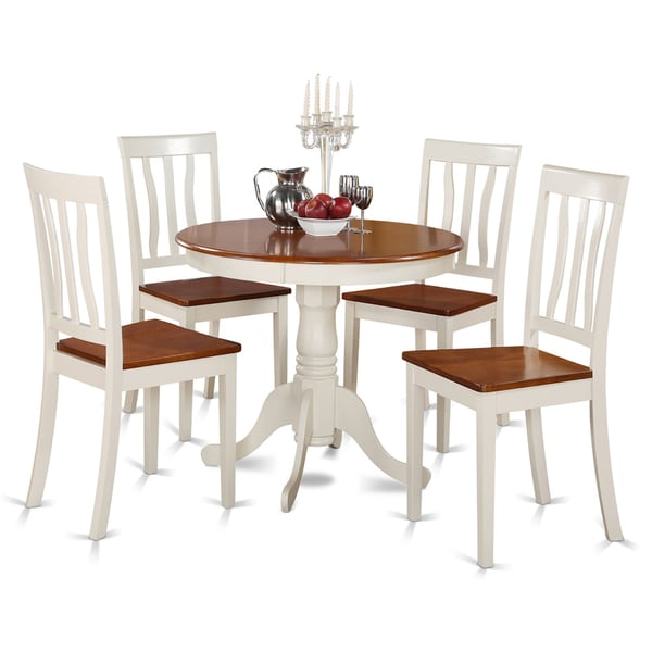 White Kitchen Table Sets: Buttermilk And Cherry Kitchen Table And Four Kitchen Chair