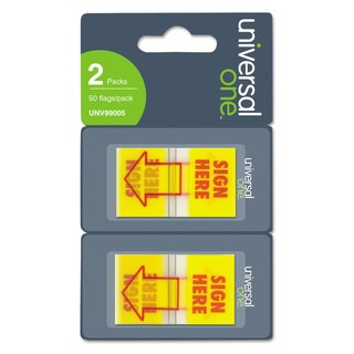 """Universal One """"Sign Here"""" Arrow Yellow/Red Page Flags (Pack of 300 Flags/12 Dispensers)"""