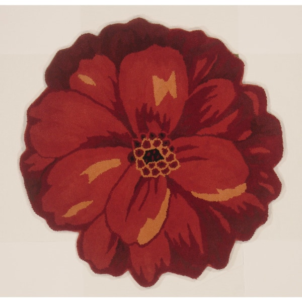 Hand Tufted Wool Peony Shaped Floral Area Rug India