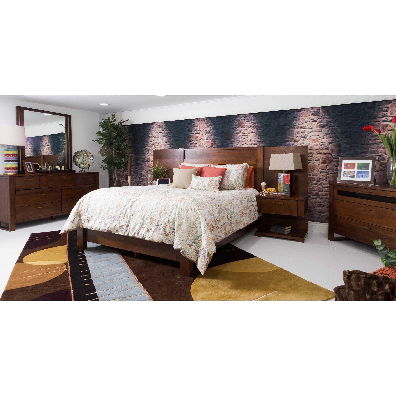 somette wyatt honey queen bed with wall unit 2 nightstands