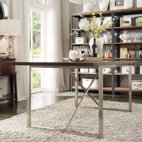 Aurelle Home Amanda Glass Top Rectangle Coffee Table: INSPIRE Q Ridgefield Industrial Weathered Top Rectangle