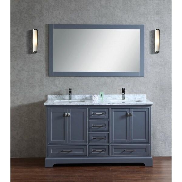 Stufurhome chanel gray 60 inch double sink bathroom vanity - 60 inch bathroom vanities double sink ...