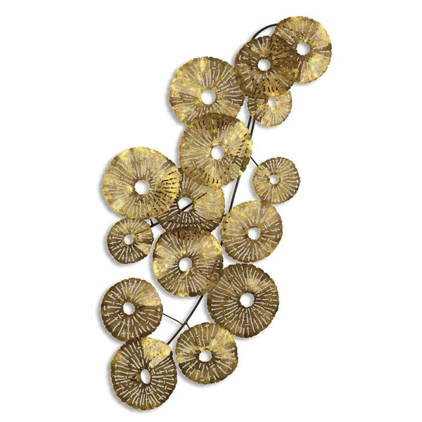 Metal Gold Lily Pad Wall Sculpture Overstock Shopping