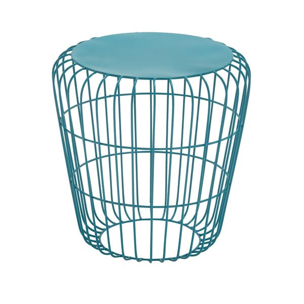 Round Wire Teal Side Table 17346837 Overstock Com