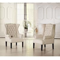 Baxton Studio Patterson Wingback Beige Linen And Burlap Nailhead Tufted Accent Chair